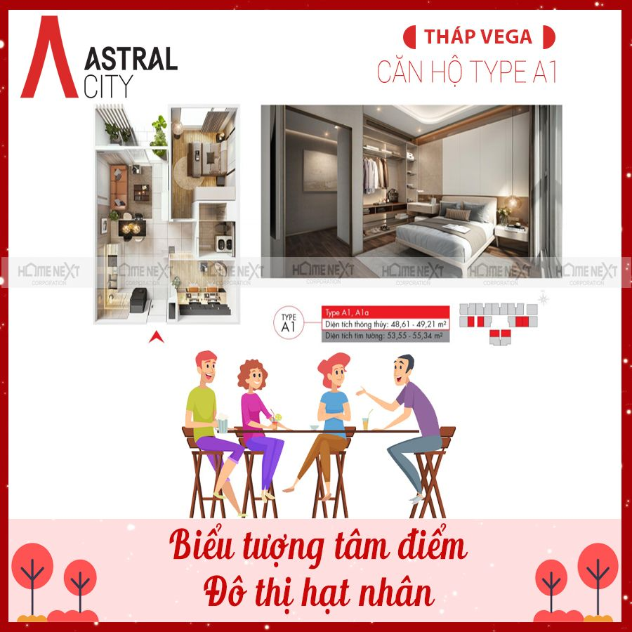 Mẫu căn 1 phòng ngủ tại tháp The Vega - Astral City Thuận An