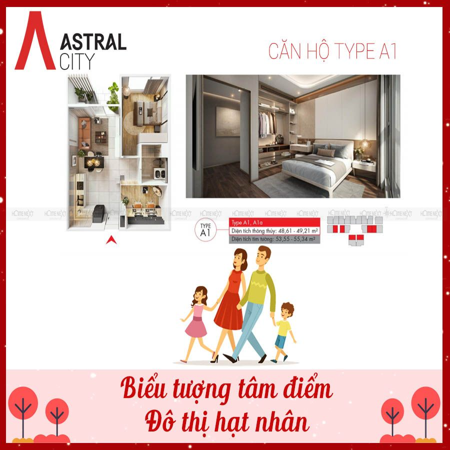 Mẫu bản vẽ căn 1 phòng ngủ tại Astral City Thuận An