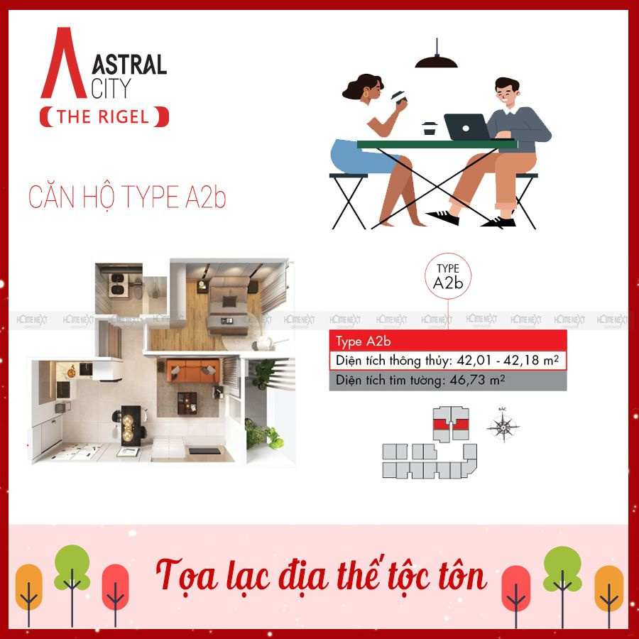 Mẫu căn hộ 1 phòng ngủ Astral City – loại A2b