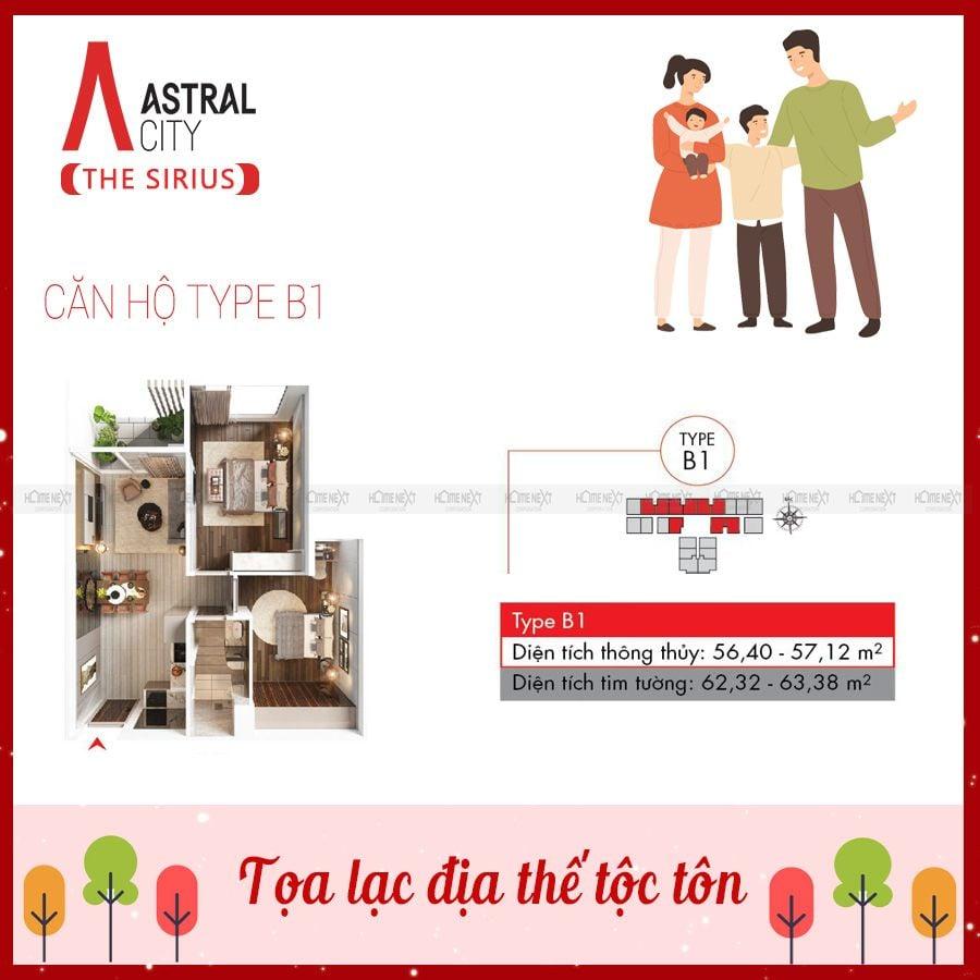 Mẫu căn hộ 2 phòng ngủ loại B1 tại Astral City