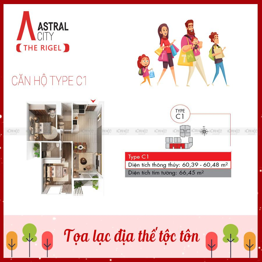 Mẫu căn hộ 2 phòng ngủ loại C1 tại Astral City