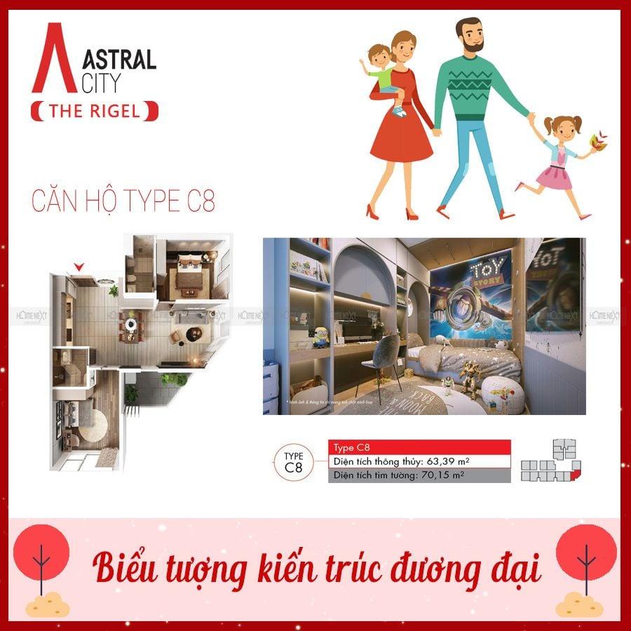 Mẫu căn hộ 2 phòng ngủ loại C8 tại Astral City