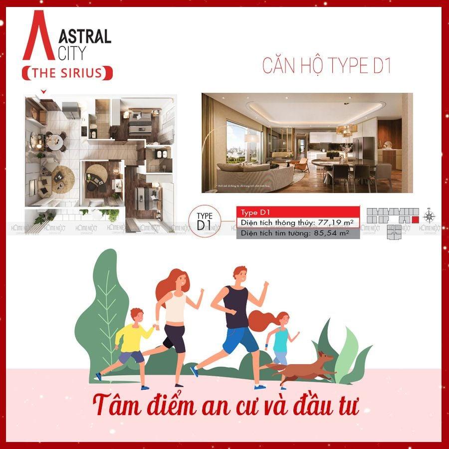 Mẫu căn hộ 3 phòng ngủ loại D1 tại Astral City