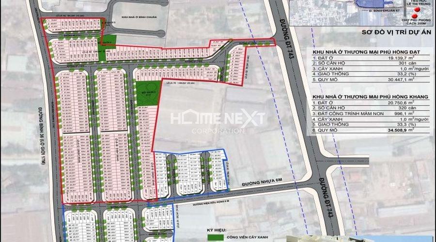 Bản đồ phân lô khu nhà ở thương mại Phú Hồng Đạt