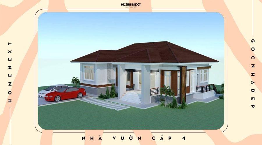 Mẫu nhà cấp 4 thiết kế mái Thái