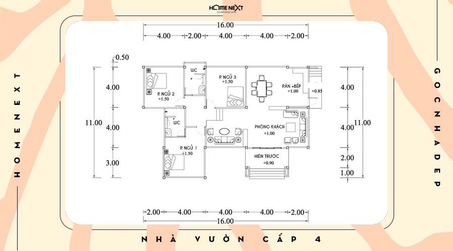 Chi tiết căn nhà vườn cấp 4 mái Thái