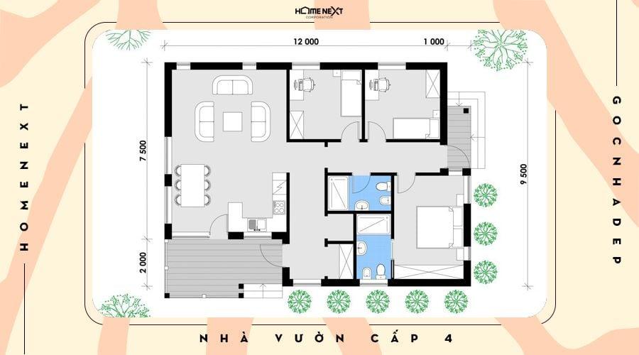 Không gian bố trí căn nhà