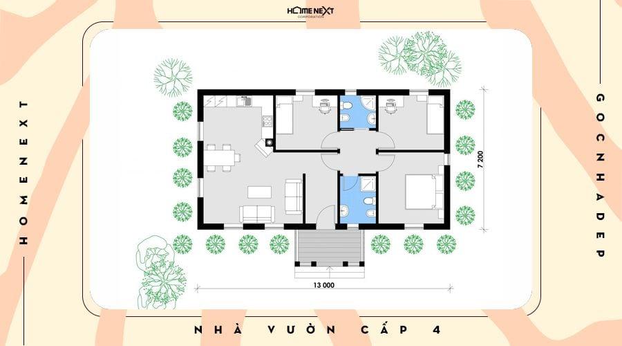 Căn nhà thiết kế 4 phòng ngủ