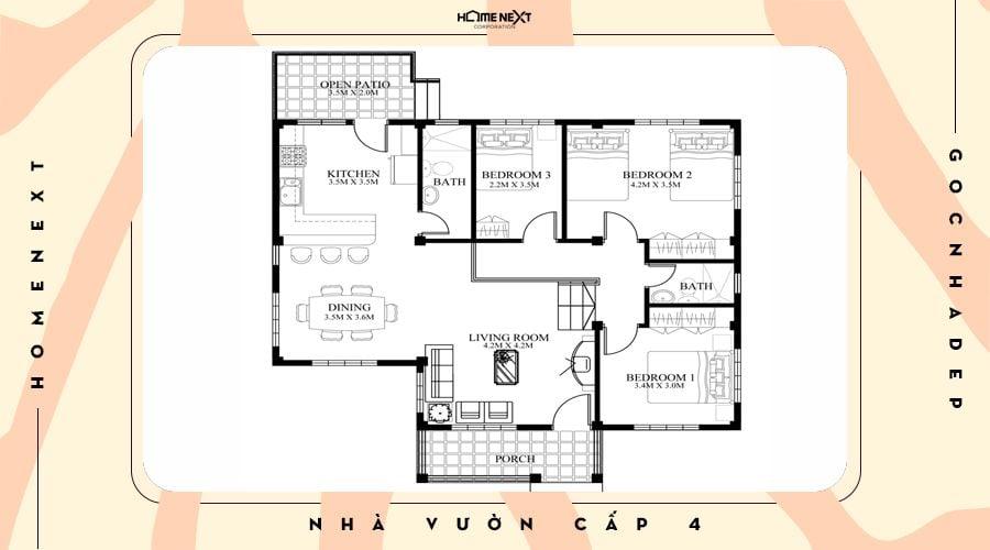 Bản vẽ không gian nhà cấp 4