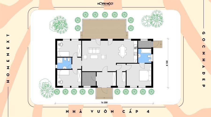 Bố trí không gian nhà cấp 4 sân vườn đẹp