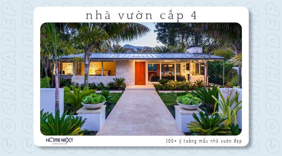 Nhà vườn cấp 4 có mái tôn với lối đi chính giữa tạo chiều sâu cho ngôi nhà