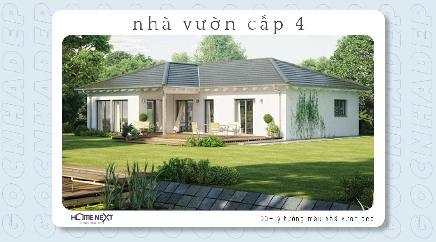 Nhà vườn cấp 4 mang phong cách Châu Âu với màu nền trắng làm chủ đạo