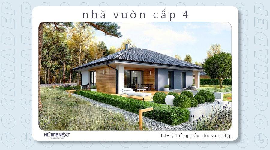 Nhà vườn cấp 4 với phong cách hiện đại thân thiện với môi trường