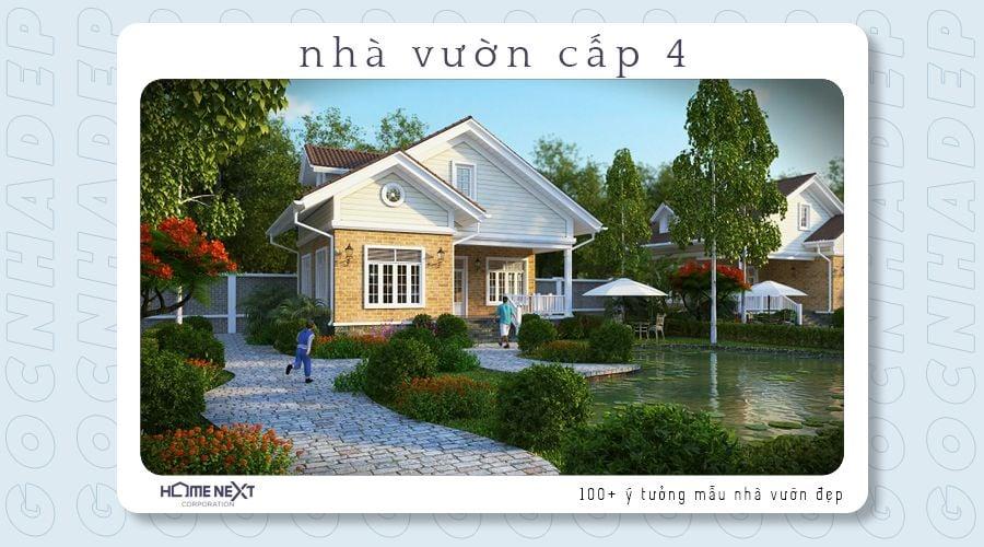 Nhà vườn cấp 4 mái thái hiện đại kết hợp với sân vườn có bờ hồ tạo cảm giác mát mẻ