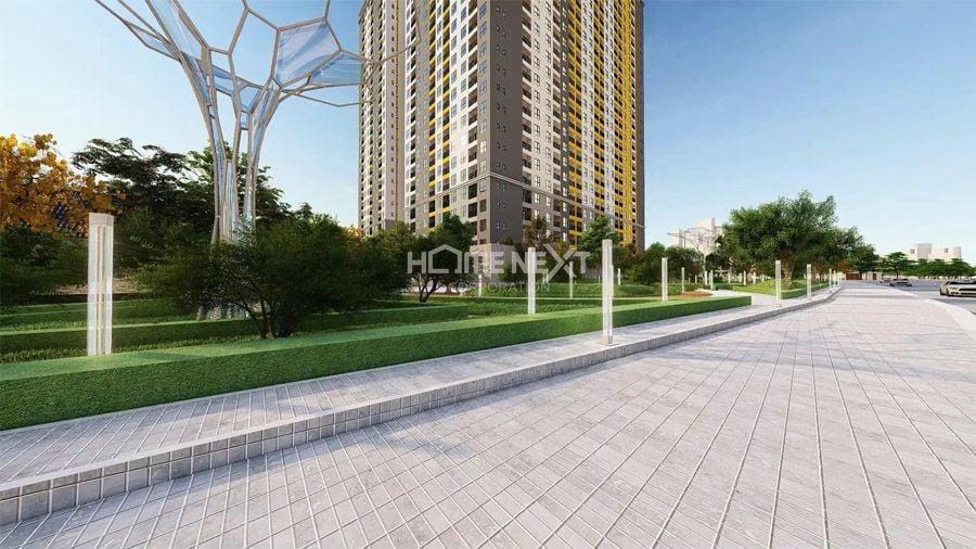 Hạ tầng đồng bộ với nhiều mảng xanh trong khuôn viên dự án