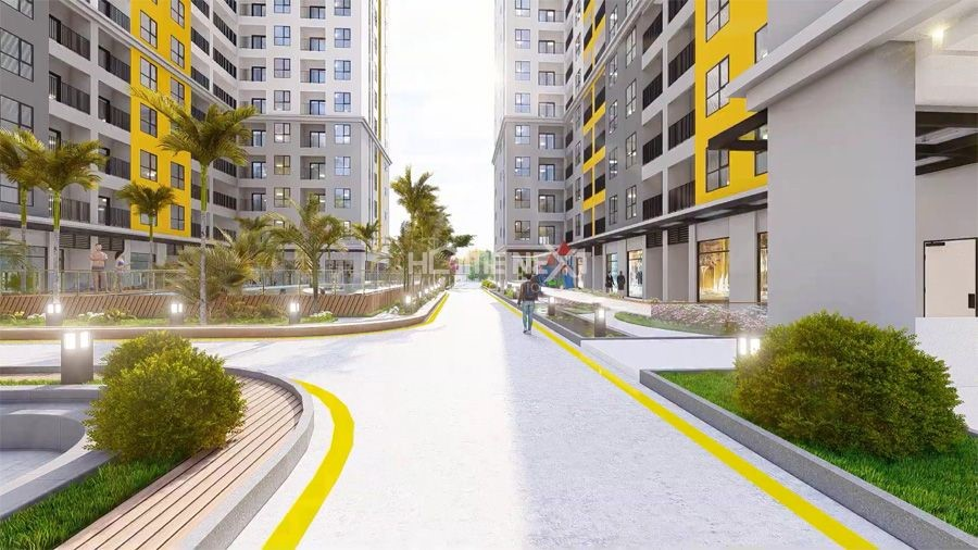 Lối đi bộ dược bố trí bên trong khuôn viên dự án