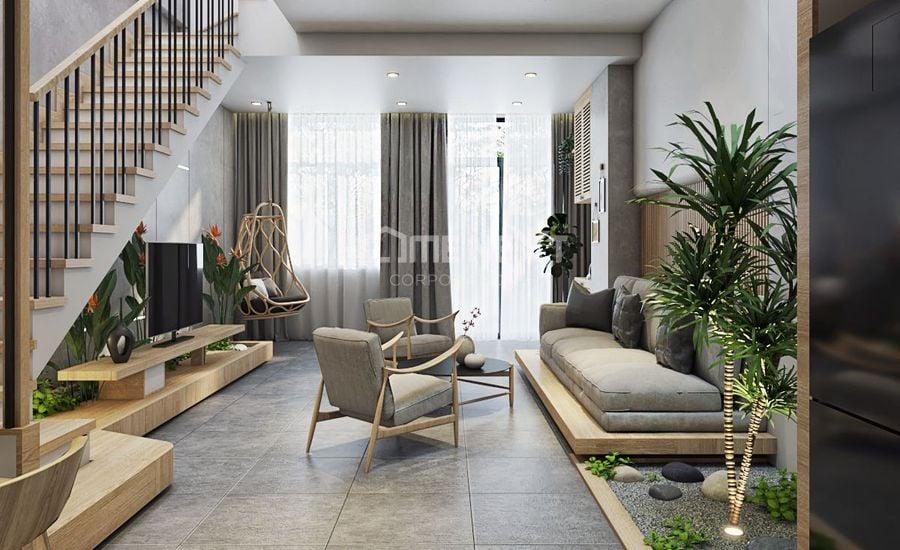 Nội thất đơn giản kết hợp với tiểu cảnh nho nhỏ làm nổi bật phòng khách