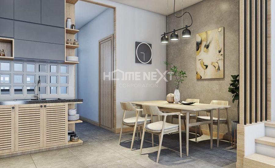 Không gian mở giữa phòng khách và khu vực bếp