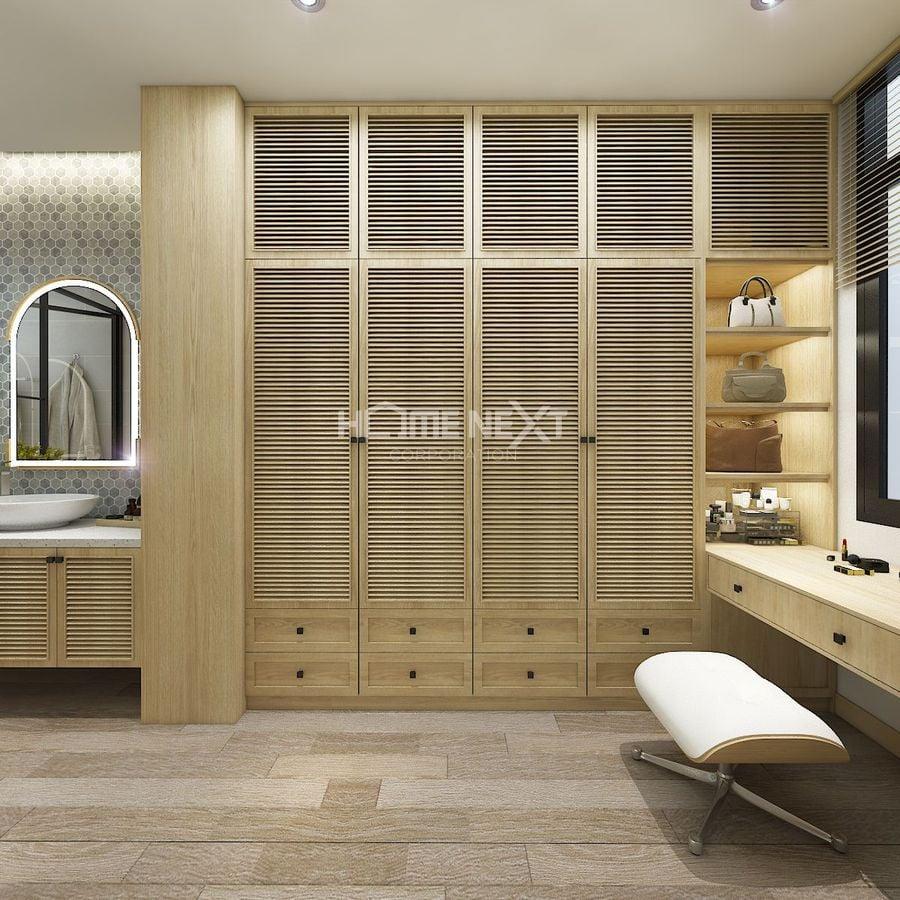 Phòng ngủ sử dụng nội thất gỗ cao cấp