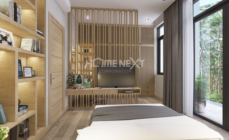 Không gian phòng ngủ được thiết kế đón gió đón sáng tự nhiên bằng hệ thống cửa sổ lớn