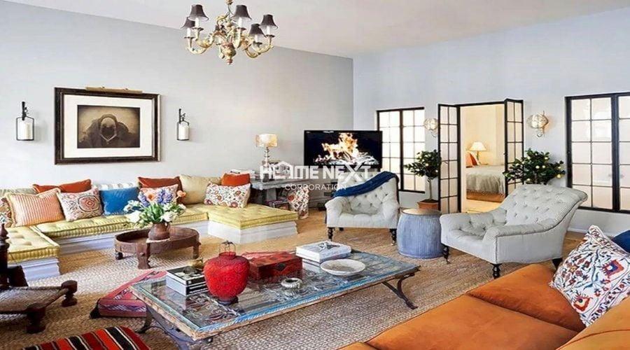 Phòng khách được thiết kế theo phong cách Chiết trung