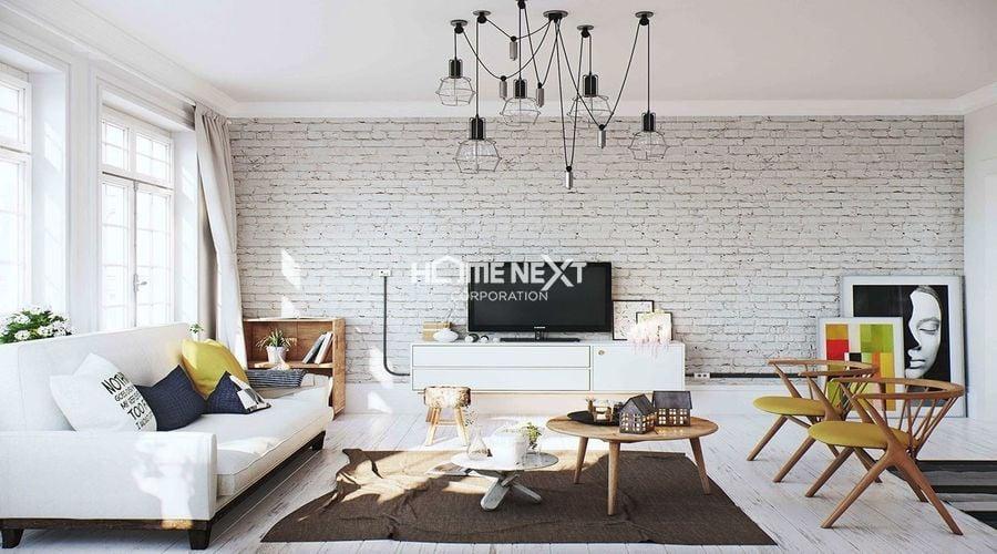 Phong cách Retro kết hợp với xi măng là điểm nhấn cho căn phòng