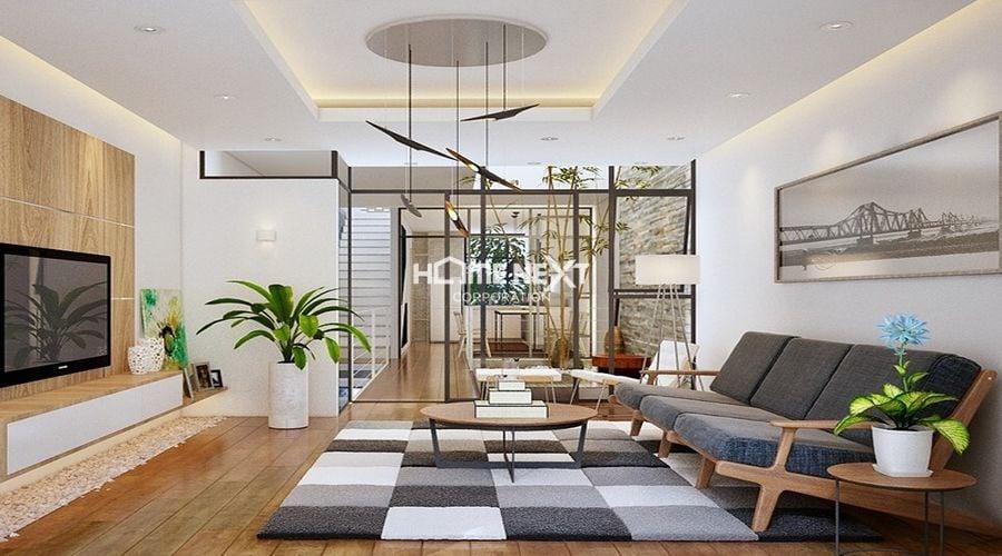 Phòng khách được thiết kế theo phong cách nội thất hình học