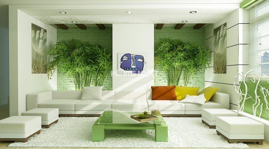 Mẫu phòng khách căn hộ có không gian xanh mát