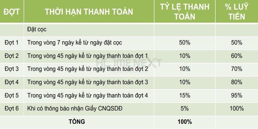 Phương thức thanh toán nhanh 50% của dự án Đại Phước Molita
