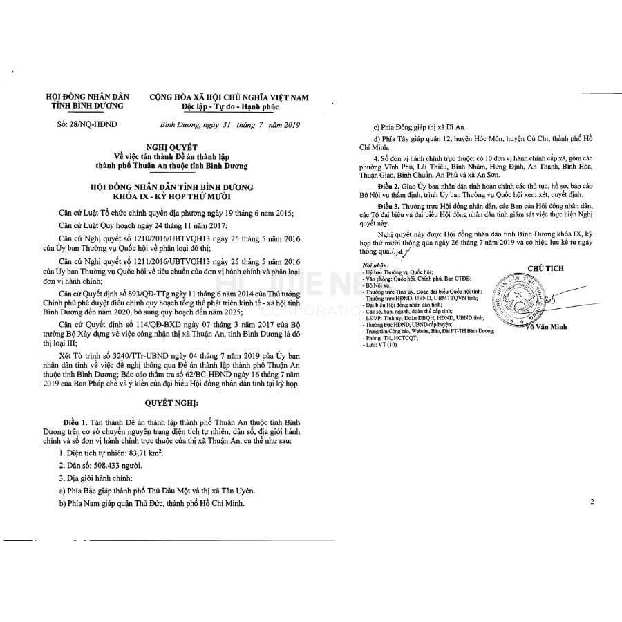 Quyết định phê duyệt Thuận An lên thành phố