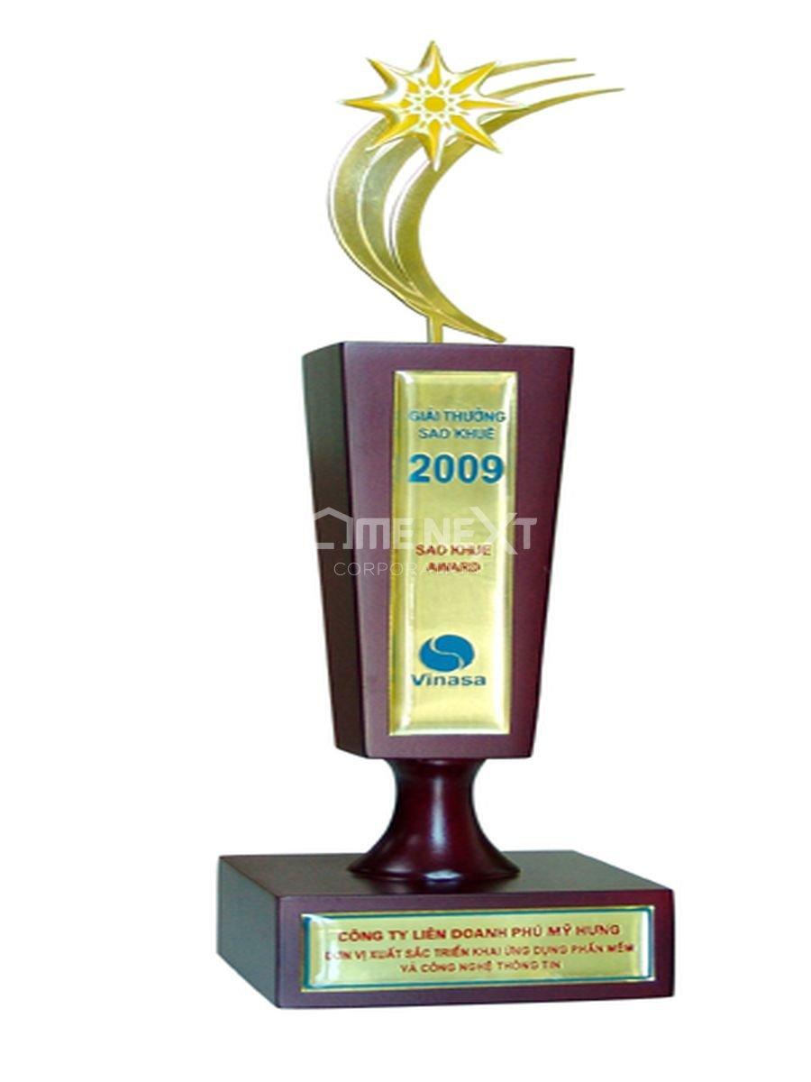 """Giải thưởng Sao Khuê 2009 – Danh hiệu """"Đơn vị xuất sắc triển khai phần mềm và CNTT"""" do Hiệp hội doanh nghiệp phần mềm Việt Nam trao tặng ngày 24/4/2009"""