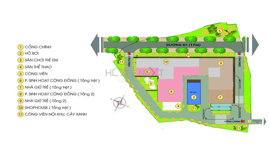 Mặt bằng tiện ích nội khu của Bcons Green View
