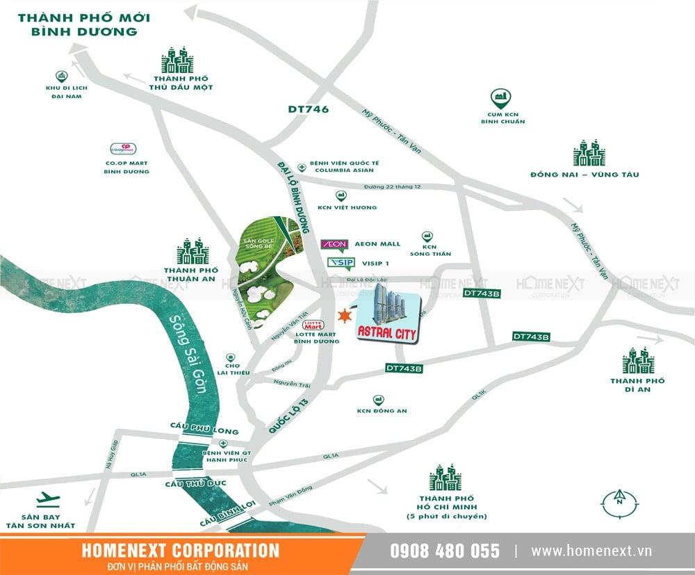 Vị trí khu đất dự án Trung tâm thương mại Astral City