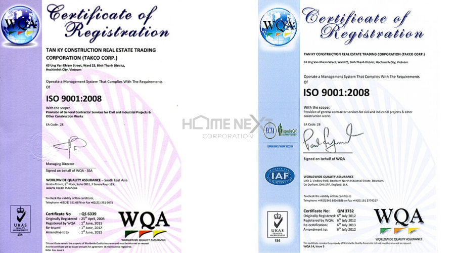 Những giấy chứng nhận mà nhà thầu xây dựng TAKCO nhận được