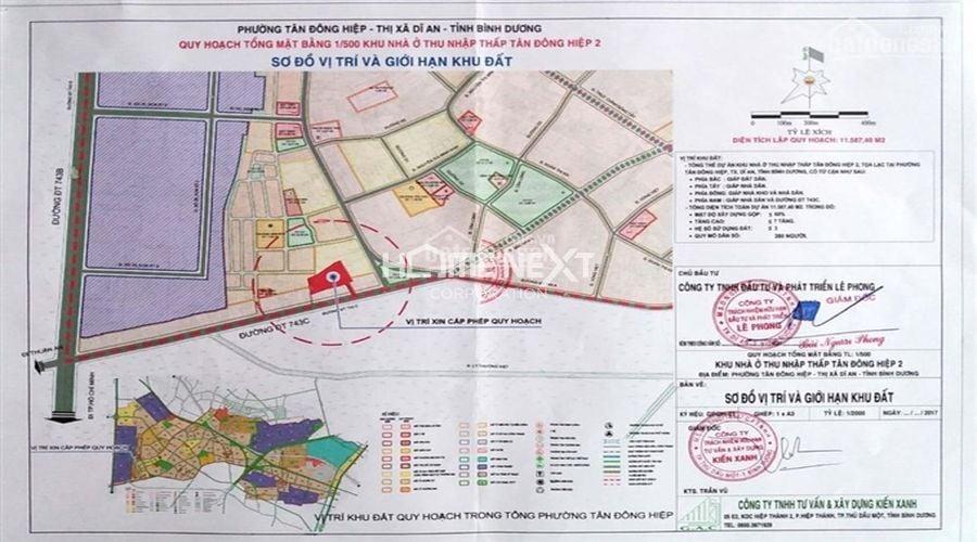 Vị trí khu đất quy hoạch 1/500 khu nhà ở thu nhập thấp Tân Đông Hiệp 2