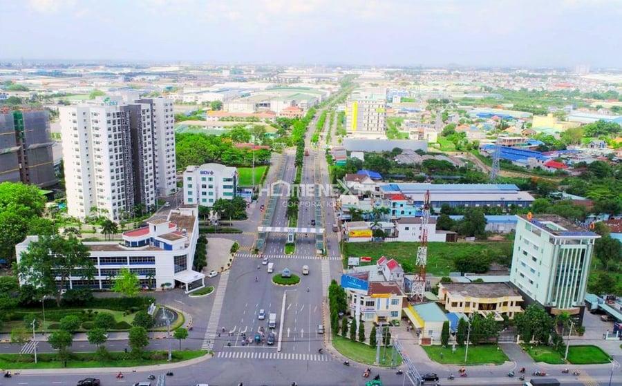Hình ảnh nhìn từ trên cao thị xã Tân Uyên Bình Dương
