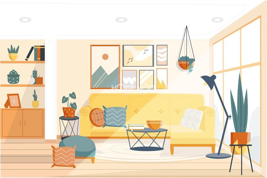 Bố cục nội thất trên có sự hài hòa khi các đồ vật chính trong căn phòng có sự tương đồng về màu sắc