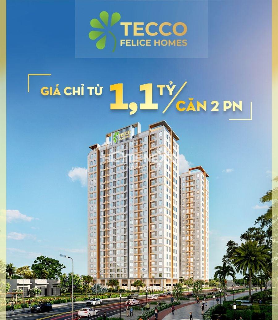 Tecco Felice Homes tại Thuận An có mức giá chỉ từ 1,1 tỷ đồng/căn 2 phòng ngủ