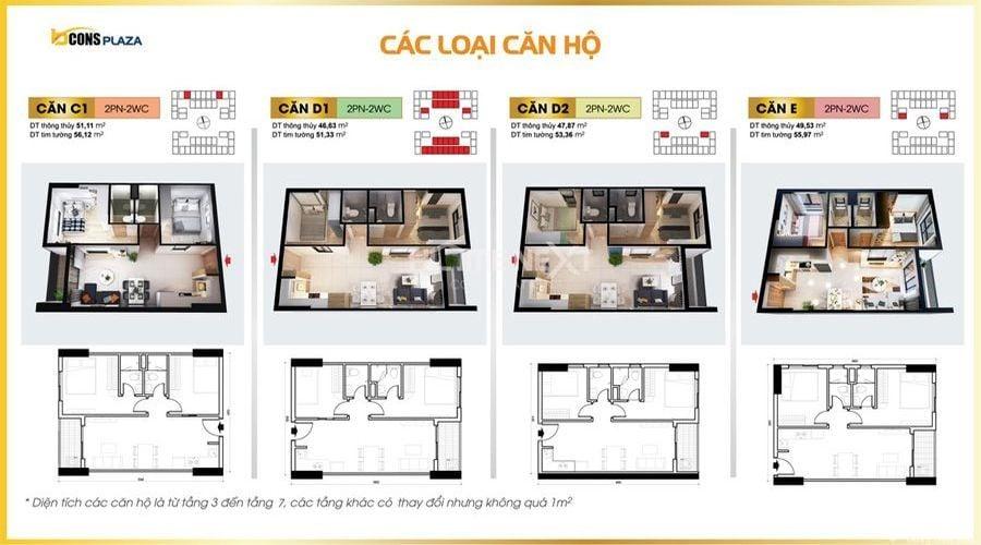 Bản vẽ thiết kế căn hộ từ căn C1 đến căn E