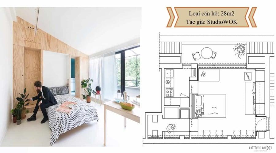 thiết kế căn hộ nhỏ với nội thất 28m2