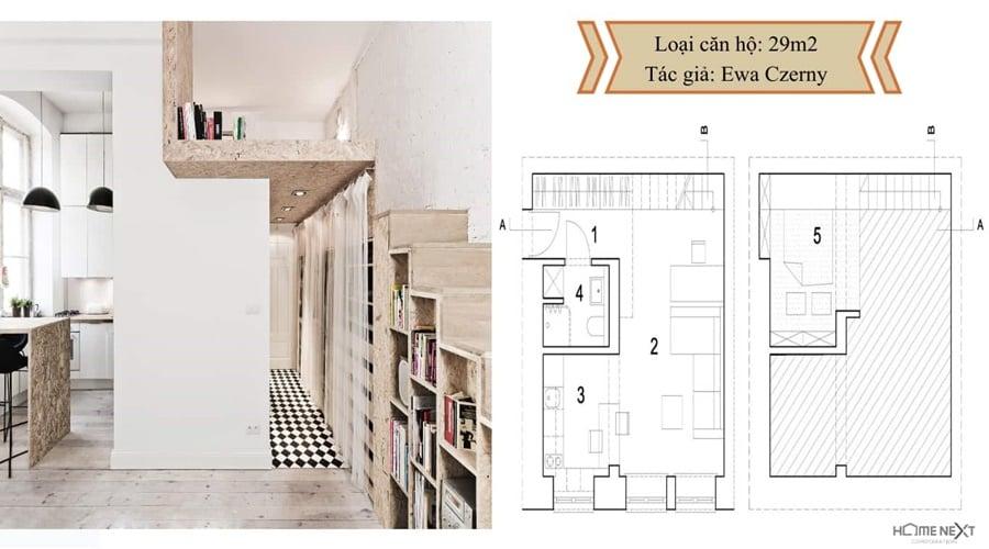 thiết kế nhỏ căn hộ với nội thất 29m2