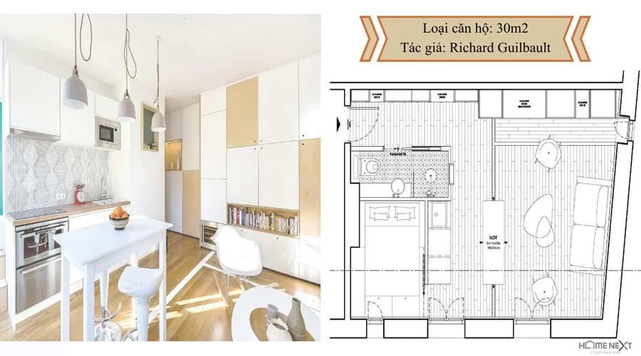 thiết kế căn hộ với nội thất 30m2