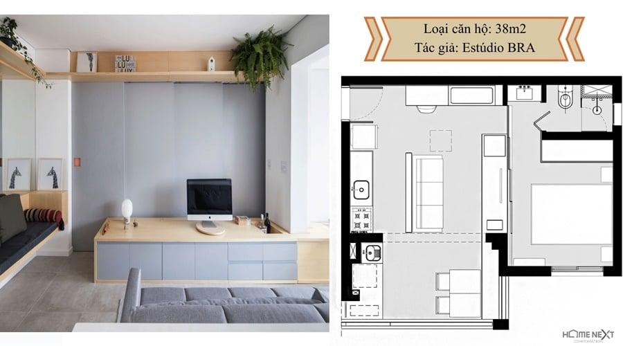 thiết kế căn hộ với nội thất 38m2