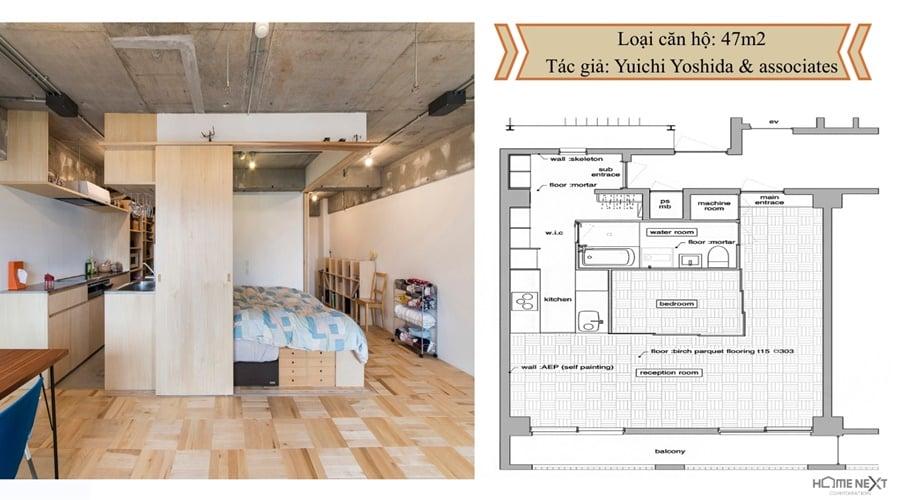 thiết kế căn hộ với nội thất 47m2