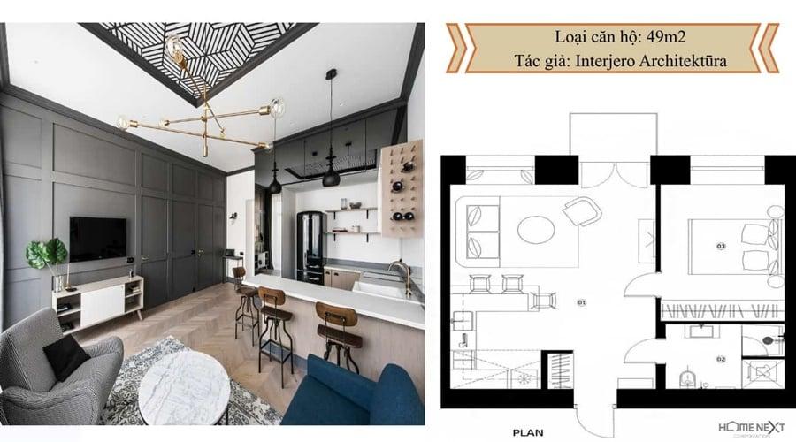 thiết kế căn hộ với nội thất 49m2