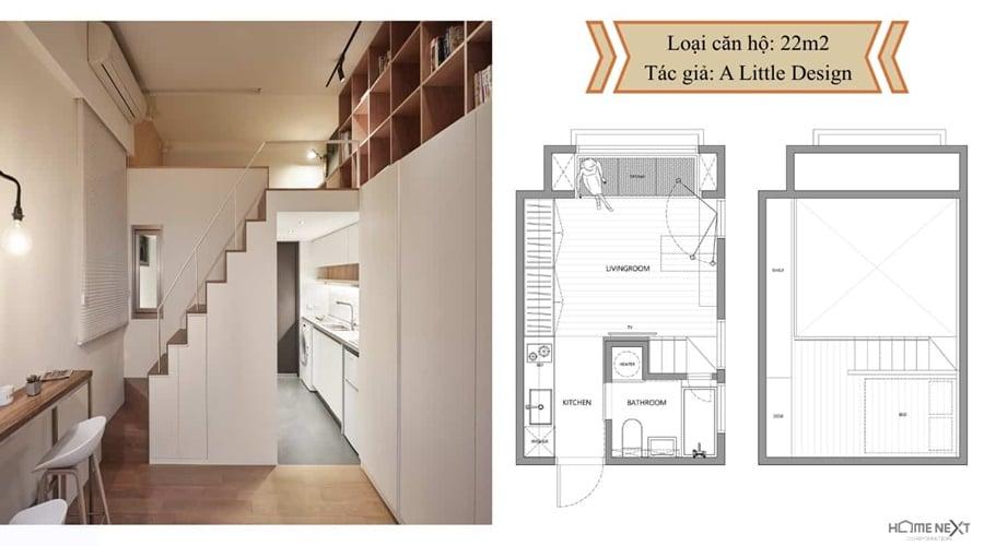 thiết kế nhỏ căn hộ với nội thất 22m2