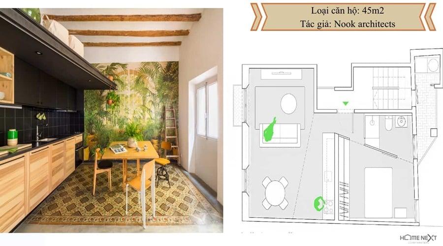thiết kế căn hộ với nội thất 45m2