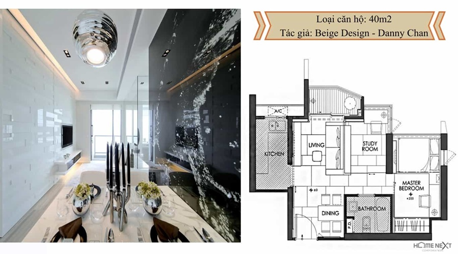 thiết kế căn hộ với nội thất 40m2