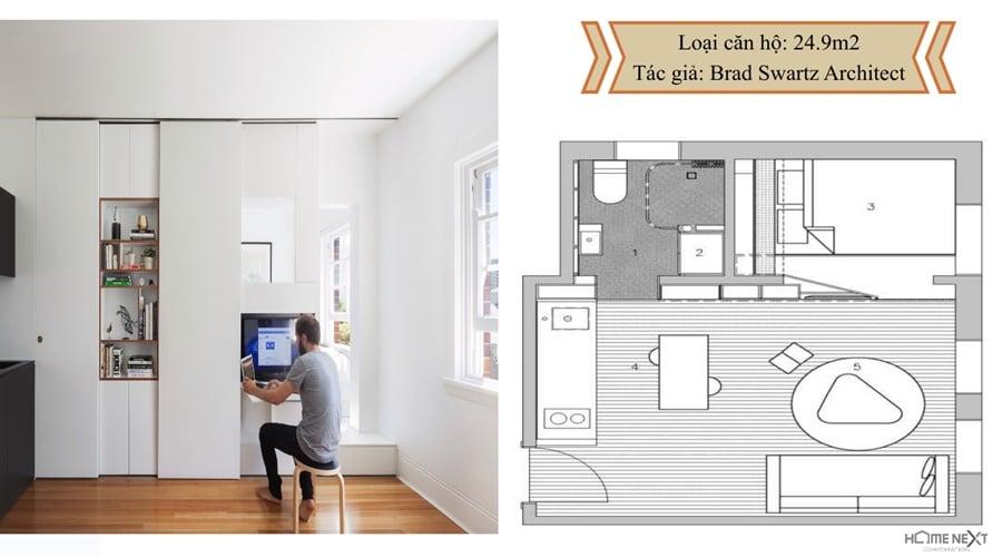 thiết kế căn hộ với nội thất 24.9m2
