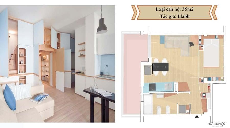 thiết kế căn hộ với nội thất 35m2